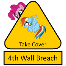 Size: 340x340 | Tagged: safe, pinkie pie, rainbow dash, breaking the fourth wall, fourth wall, scared, sign, warning sign