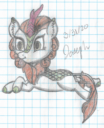 Size: 1916x2359 | Tagged: safe, artist:mlplayer dudez, autumn blaze, kirin, cel shading, cheek fluff, colored, crossed legs, ear fluff, graph paper, lying down, prone, shading, solo, tail wrap, tongue out, traditional art
