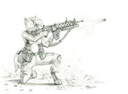 Size: 1400x1028 | Tagged: safe, artist:baron engel, limestone pie, anthro, earth pony, pony, unguligrade anthro, ar-18, assault rifle, grenade, grenade launcher, gun, m203, monochrome, pencil drawing, rifle, solo, story included, traditional art, weapon