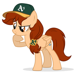 Size: 680x680 | Tagged: safe, artist:starshade, oc, oc only, oc:vanilla creame, pegasus, pony, alcohol, baseball cap, beer, cap, curious, hat, oakland athletics, shadow, simple background, solo, transparent background