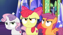 Size: 1646x935 | Tagged: safe, screencap, apple bloom, scootaloo, sweetie belle, pony, growing up is hard to do, spoiler:s09e22, angry, apple bloom is not amused, cropped, cutie mark crusaders, floppy ears, pouting, scootaloo is not amused, sweetie belle is not amused, trio, unamused