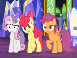 Size: 789x601 | Tagged: safe, screencap, apple bloom, scootaloo, sweetie belle, pony, growing up is hard to do, spoiler:s09e22, confused, cropped, cutie mark crusaders, older, older apple bloom, older cmc, older scootaloo, older sweetie belle, raised hoof, trio