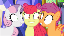 Size: 1669x939 | Tagged: safe, screencap, apple bloom, scootaloo, sweetie belle, pony, growing up is hard to do, spoiler:s09e22, cropped, cute, cutie mark crusaders, excited, older, older apple bloom, older cmc, older scootaloo, older sweetie belle, shrunken pupils, smiling, trio
