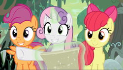 Size: 1591x901 | Tagged: safe, screencap, apple bloom, scootaloo, sweetie belle, pony, growing up is hard to do, spoiler:s09e22, cropped, cute, cutie mark crusaders, glowing horn, horn, levitation, magic, map, older, older apple bloom, older cmc, older scootaloo, older sweetie belle, pointing, smiling, telekinesis, trio