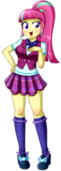 Size: 604x1696 | Tagged: safe, artist:the-butch-x, sour sweet, equestria girls, breasts, clothes, crystal prep academy uniform, crystal prep shadowbolts, cute, female, freckles, kneesocks, looking at you, open mouth, plaid skirt, pleated skirt, raised eyebrow, school uniform, shoes, simple background, skirt, smiling, socks, solo, sourbetes, transparent background, vest