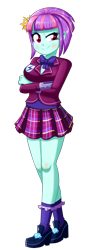 Size: 604x1696 | Tagged: safe, artist:the-butch-x, sunny flare, equestria girls, bowtie, breasts, clothes, crossed arms, crystal prep academy uniform, female, plaid skirt, pleated skirt, raised eyebrow, school uniform, shadowbolts, shoes, simple background, skirt, smiling, smirk, socks, solo, transparent background