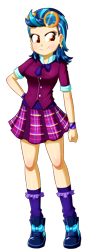 Size: 604x1696 | Tagged: safe, artist:the-butch-x, indigo zap, equestria girls, breasts, clothes, crystal prep academy uniform, ear piercing, earring, female, goggles, hand on hip, jewelry, piercing, plaid skirt, school uniform, shadowbolts, shoes, simple background, skirt, smiling, sneakers, solo, transparent background