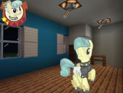 Size: 2048x1536 | Tagged: safe, artist:topsangtheman, cinnabar, golden hooves, quicksilver, crystal pony, gameloft, house, interior, looking at you, minecraft, night, pose, raised hoof