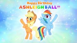 Size: 5361x3008   Tagged: safe, artist:andoanimalia, applejack, rainbow dash, earth pony, pegasus, pony, applejack's hat, ashleigh ball, cowboy hat, female, flying, hat, mare, rearing