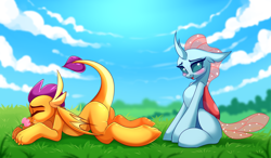 Size: 4777x2799 | Tagged: safe, artist:airiniblock, ocellus, smolder, changedling, changeling, dragon, absurd resolution, beautiful, blushing, commission, cute, diaocelles, duo, eyes closed, female, flower, grass, grass field, looking at you, open mouth, pretty, smelling, smolderbetes, smolderriere