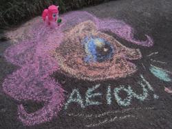 Size: 1067x800   Tagged: safe, pinkie pie, pony, aeiou, chalk, chalk drawing, meme, moonbase alpha, photo, toy, traditional art