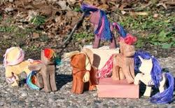 Size: 999x617 | Tagged: safe, artist:xofox, applejack, fluttershy, pinkie pie, rainbow dash, rarity, twilight sparkle, pony, craft, mane six, toy, woodwork