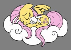 Size: 800x562 | Tagged: safe, artist:dirtyker, angel bunny, fluttershy, pony, angelbetes, cloud, coloring page, cute, gray background, shyabetes, simple background, sleeping