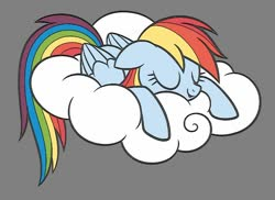 Size: 800x581 | Tagged: safe, artist:dirtyker, rainbow dash, pony, cloud, coloring page, gray background, simple background, sleeping, solo