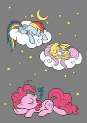 Size: 800x1132 | Tagged: safe, artist:dirtyker, angel bunny, fluttershy, pinkie pie, rainbow dash, pony, cloud, coloring page, gray background, moon, prone, simple background, sleeping, stars