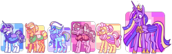 Size: 4641x1461 | Tagged: safe, artist:spuds-mcfrenzy, applejack, fluttershy, pinkie pie, rainbow dash, rarity, twilight sparkle, alicorn, pony, the last problem, alternate universe, elderly, glasses, immortality blues, mane six, older, older applejack, older fluttershy, older mane six, older pinkie pie, older rainbow dash, older rarity, older twilight, princess twilight 2.0, simple background, story in the source, story included, transparent background, twilight sparkle (alicorn)