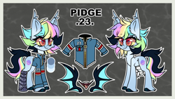 Size: 4098x2304 | Tagged: safe, artist:pidge--podge, oc, oc:pidge, bat pony, pony, amputee, clothes, female, jacket, mare, solo