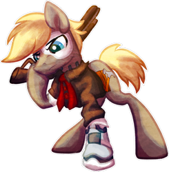 Size: 1024x1047 | Tagged: safe, artist:amura-of-jupiter, oc, oc only, oc:maple wood, oc:maplewood, cyborg, earth pony, pony, amputee, bioshock, bioshock infinite, blonde, blonde hair, blonde mane, blue eyes, buttons, clothes, commission, crossover, cutie mark, eyes open, frown, gun, hammer, hoof hold, jacket, leather jacket, looking down, male, mask, necktie, pouting, prosthetic eye, prosthetic leg, prosthetic limb, prosthetics, raised hoof, robotic, robotic legs, short tail, shotgun, simple background, sneer, solo, stallion, standing, transparent background, upset, video game crossover, weapon, wood