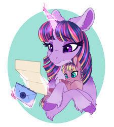 Size: 1129x1254 | Tagged: safe, artist:peridotkitty, twilight sparkle, oc, oc:aurora borealis, alicorn, pony, unicorn, baby, baby pony, cloven hooves, fangs, female, filly, foal, holding a pony, letter, magic, mare, mother and child, mother and daughter, offspring, parent:compass star, parent:twilight sparkle, twilight sparkle (alicorn), unshorn fetlocks