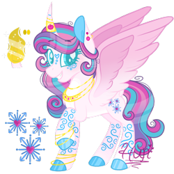 Size: 1000x1000 | Tagged: safe, artist:monkey-overalls, princess flurry heart, alicorn, pony, bracelet, female, horn, horn jewelry, jewelry, mare, older, older flurry heart, simple background, solo, transparent background