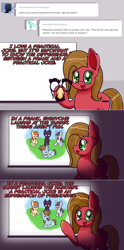Size: 1280x2576 | Tagged: safe, artist:clouddg, rumble, oc, oc:pun, earth pony, pony, ask pun, ask, groucho mask, laughing