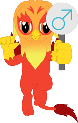 Size: 2264x3568 | Tagged: safe, artist:porygon2z, oc, oc only, oc:heatwave, griffon, fledgeling, male, male symbol, simple background, solo, transparent background