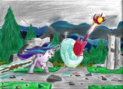 Size: 1280x931 | Tagged: safe, artist:johnerose126, starlight glimmer, pony, unicorn, angry, fight, glowing horn, horn, magic, ruins, shield, staff, staff of sameness, traditional art