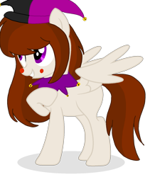Size: 1187x1360 | Tagged: safe, artist:circuspaparazzi5678, oc, oc only, pegasus, pony, april fools, aprilfoolspony, base used, bells, clown nose, clown pony, hat, jester hat, jester pony, purple eyes, simple background, solo, transparent background