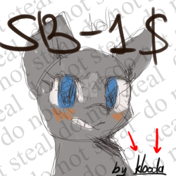Size: 2000x2000 | Tagged: safe, artist:klooda, pony, advertisement, april fools, april fools joke, blushing, bust, commission, deviantart watermark, female, looking at you, mare, obtrusive watermark, portrait, smiling, solo, watermark, your character here