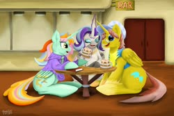 Size: 1920x1280 | Tagged: safe, artist:khaki-cap, oc, oc:heartstrong flare, oc:princess mythic majestic, oc:princess sincere scholar, alicorn, pony, alcohol, alicorn oc, alicorn princess, bar, beer, beer mug, book, cider, cider mug, clothes, commissioner:bigonionbean, cutie mark, fusion:heartstrong flare, fusion:princess mythic majestic, fusion:princess sincere scholar, jewelry, large ass, laughing, levitation spell, mug, pub, signature, table, talking, text, thicc ass, thiccccc, thiccness, uniform, wonderbolt trainee uniform, writer:bigonionbean