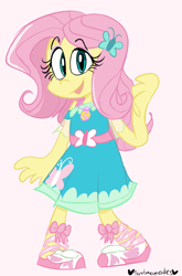Size: 528x800 | Tagged: safe, artist:mirabuncupcakes15, fluttershy, equestria girls, belt, clothes, cute, dress, female, open mouth, pink background, sandals, shyabetes, simple background, solo