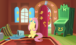 Size: 2160x1280 | Tagged: safe, anonymous artist, big macintosh, fluttershy, earth pony, pegasus, pony, series:fm holidays, april fools, bucket, confused, door, female, fluttermac, fluttershy's cottage, glass of water, lineless, lip bite, male, mare, no pupils, prank, puddle, question mark, raised eyebrow, shipping, smiling, stallion, straight
