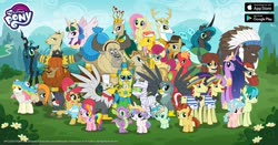 Size: 1200x630 | Tagged: safe, idw, big macintosh, big wig, carrot cake, chief thunderhooves, coral currents, cozy glow, flam, flim, fluttershy, gabby, gallus, gustave le grande, horwitz, indiana pones, jeff letrotski, king aspen, lemon crumble, posey shy, prince rutherford, princess celestia, princess flurry heart, queen chrysalis, rainbow harmony, rainbow trout (character), sandbar, spike, twilight sparkle, yona, alicorn, buffalo, changeling, changeling queen, deer, donkey, dragon, earth pony, griffon, pegasus, pony, unicorn, yak, reflections, spoiler:comic, spoiler:s09e26, advertisement, cloud, evil celestia, female, filly, flim flam brothers, friendship student, gameloft, idw showified, indiana jones, male, mare, mountain, mummy, official, older, older twilight, older yona, pirate, princess twilight 2.0, reversalis, royal guard gallus, sky, stallion, twilight sparkle (alicorn)