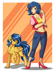 Size: 2300x3000 | Tagged: safe, artist:jack-pie, oc, oc:crystal elizabeth coat, pegasus, pony, belly button, clothes, high heels, high res, human ponidox, lipstick, midriff, pants, raised hoof, self ponidox, shoes