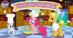 Size: 1200x630 | Tagged: safe, gourmand ramsay, pinkie pie, rumble, advertisement, bowl, chef's hat, facebook, gameloft, gordon ramsay, hat, hoof hold, male, messy, mixing bowl, official, stallion