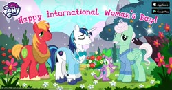 Size: 1200x630 | Tagged: safe, big macintosh, gentle breeze, shining armor, spike, dragon, earth pony, pegasus, unicorn, advertisement, bouquet, clothes, facebook, flower, gameloft, international women's day, irony, male, official, suit, winged spike, wings