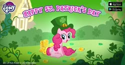 Size: 1200x630 | Tagged: safe, pinkie pie, clover, coin, facebook, four leaf clover, gameloft, gold, green, hat, holiday, official, saint patrick's day, shamrock, solo, top hat