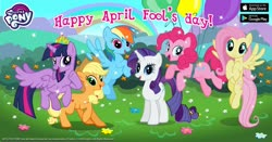Size: 1200x630   Tagged: safe, applejack, fluttershy, pinkie pie, rainbow dash, rarity, twilight sparkle, advertisement, april fools, balloon, facebook, floating, mane six, new crown, official, then watch her balloons lift her up to the sky