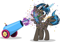 Size: 1999x1404 | Tagged: safe, artist:le-23, oc, oc:going lucky, pegasus, pony, male, party cannon, simple background, solo, stallion, sunglasses, transparent background
