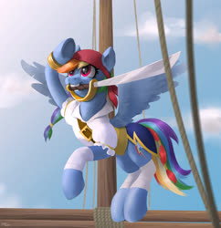 Size: 1920x1985 | Tagged: safe, artist:hardbrony, rainbow dash, pegasus, pony, my little pony: the movie, clothes, cloud, female, mare, mouth hold, pirate dash, ship, sky, solo, sword, weapon
