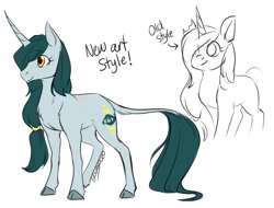 Size: 1250x950 | Tagged: safe, artist:its-gloomy, oc, oc only, oc:bright eyes, classical unicorn, pony, unicorn, cloven hooves, female, leonine tail, mare, simple background, smiling, solo, style comparison, unshorn fetlocks, white background