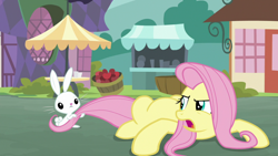 Size: 1920x1080 | Tagged: safe, screencap, angel bunny, fluttershy, pony, rabbit, she talks to angel, spoiler:s09e18, animal, annoyed, body swap, duo, female, male, mare, tail, tail pull