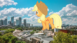 Size: 3200x1800 | Tagged: safe, artist:luckreza8, artist:theotterpony, edit, vector edit, applejack, earth pony, pony, city, cowboy hat, cutie mark, female, freckles, giant pony, hat, highrise ponies, irl, macro, mare, open mouth, photo, ponies in real life, scenery, solo, stetson, story in the source, story included, vector