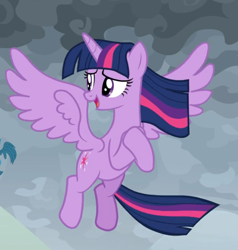 Size: 743x779 | Tagged: safe, screencap, twilight sparkle, alicorn, the ending of the end, spoiler:s09e24, spoiler:s09e25, cropped, flying, hooves together, looking back, open mouth, solo, spread wings, twilight sparkle (alicorn), windswept mane, windswept tail, wings