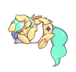 Size: 1143x1093 | Tagged: safe, artist:angrylittlerodent, oc, oc only, oc:mango foalix, pegasus, pillow, simple background, sleeping, sleepy, solo, tired, transparent background
