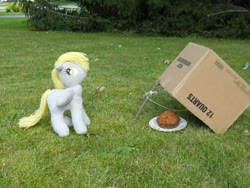 Size: 700x525 | Tagged: safe, artist:eratosofcyrene, derpy hooves, pegasus, pony, box, cardboard box, female, food, mare, muffin, photo, plushie, solo, toy, trap (device)