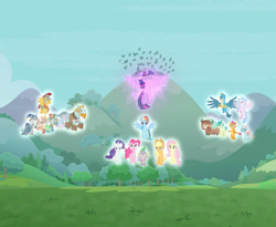 Size: 1043x854 | Tagged: safe, screencap, applejack, flash magnus, fluttershy, gallus, meadowbrook, mistmane, ocellus, pinkie pie, rainbow dash, rarity, rockhoof, sandbar, silverstream, smolder, somnambula, spike, star swirl the bearded, twilight sparkle, yona, alicorn, dragon, the ending of the end, cropped, floating, glow, magic of friendship, mane seven, mane six, pillars of equestria, spread wings, student six, triumphant, twilight sparkle (alicorn), winged spike, wings