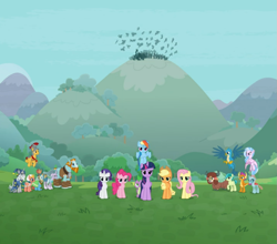 Size: 939x826 | Tagged: safe, screencap, applejack, flash magnus, fluttershy, gallus, meadowbrook, mistmane, ocellus, pinkie pie, rainbow dash, rarity, rockhoof, sandbar, silverstream, smolder, somnambula, spike, star swirl the bearded, twilight sparkle, yona, alicorn, dragon, the ending of the end, cropped, flying, looking at you, mane seven, mane six, pillars of equestria, student six, triumphant, twilight sparkle (alicorn), winged spike
