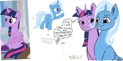 Size: 2160x1080 | Tagged: safe, artist:calebtyink, trixie, twilight sparkle, alicorn, alicornified, conjoined, fusion, looking at each other, magic, race swap, thought bubble, tongue out, trixiecorn, twilight sparkle (alicorn), we have become one