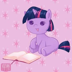 Size: 600x600 | Tagged: safe, artist:vilyann, twilight sparkle, pony, unicorn, baby, baby pony, babylight sparkle, blank flank, book, cute, cutie mark background, open mouth, part of a set, pink background, simple background, sitting, solo, twiabetes, unicorn twilight, younger